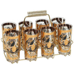 Vintage Eight Highball Glasses in a Cart by Fred Press