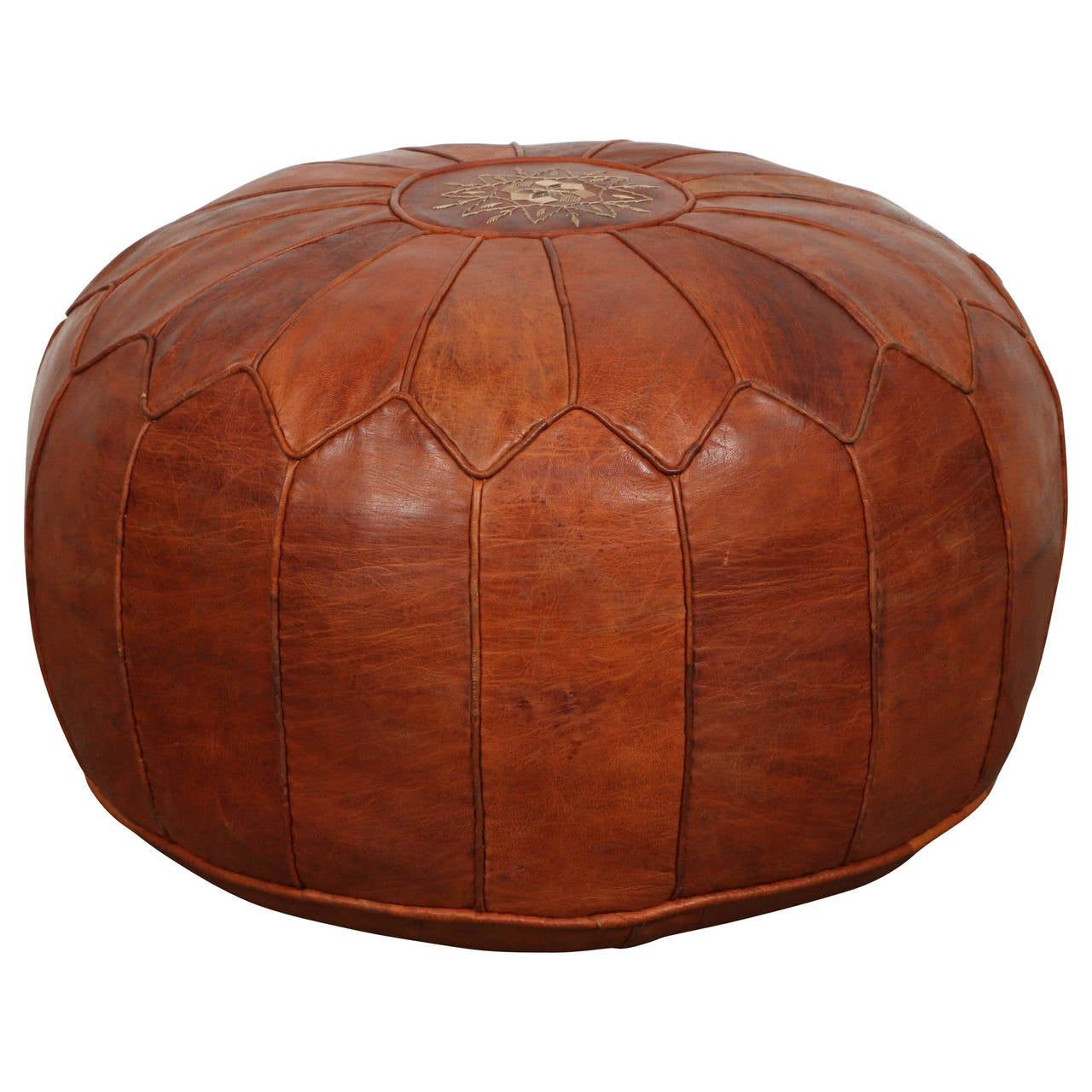 large moroccan leather pouf at 1stdibs. Black Bedroom Furniture Sets. Home Design Ideas