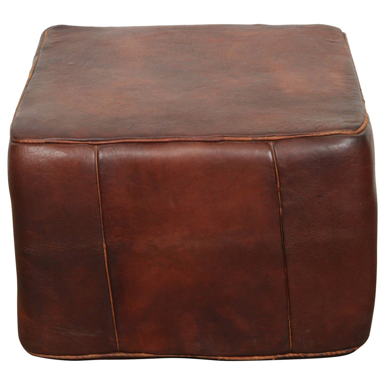 Large Moroccan Leather Square Pouf At 1stdibs