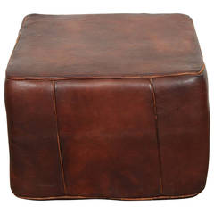 Large Moroccan Leather Square Pouf