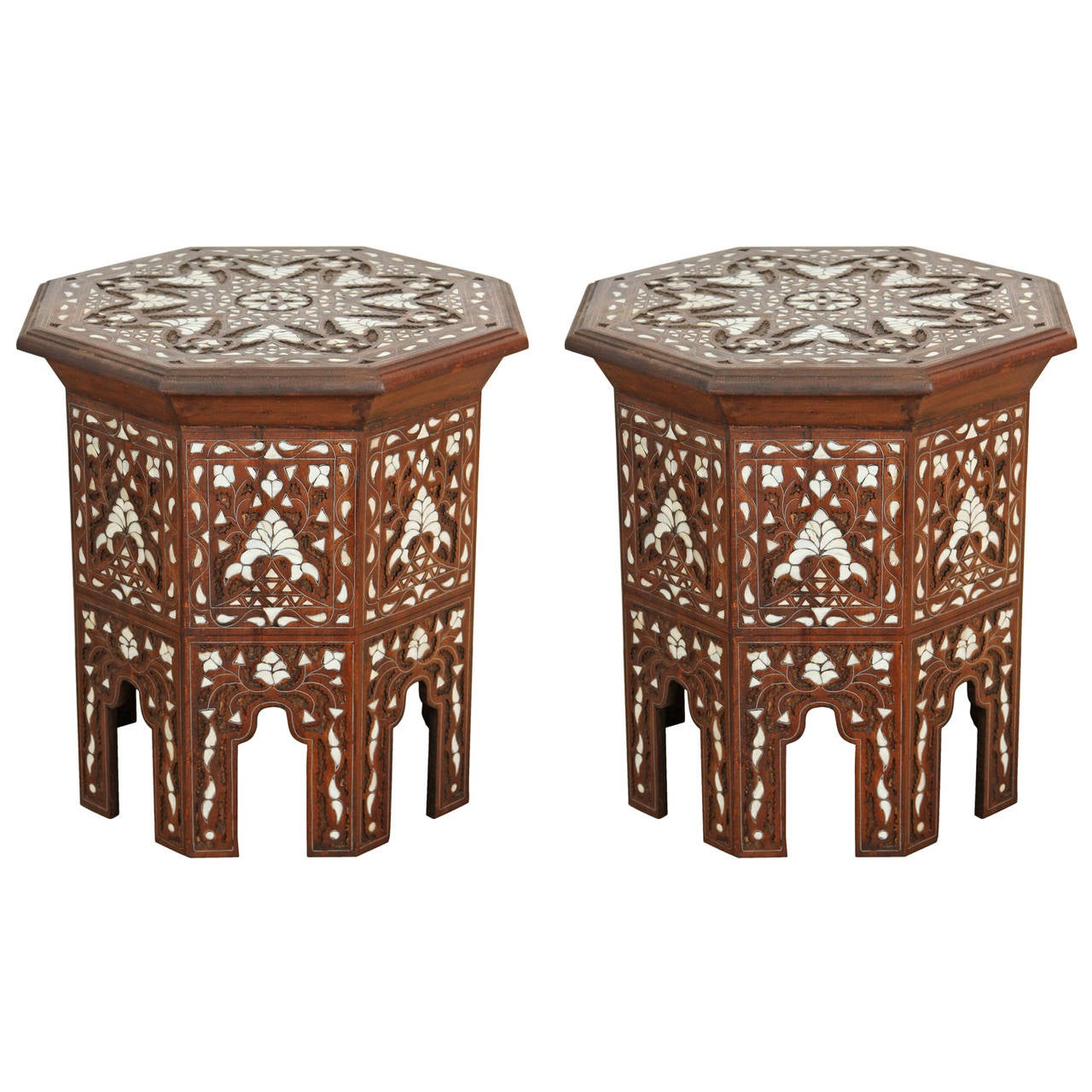 Marvelous Pair Of Syrian Mother Of Pearl Inlaid Side Tables 1