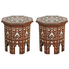 Pair of Syrian Mother-of-pearl Inlaid Side Tables