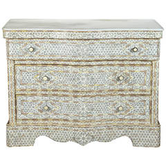 White Wedding Syrian Chest of Drawers with Mother of Pearl Inlay