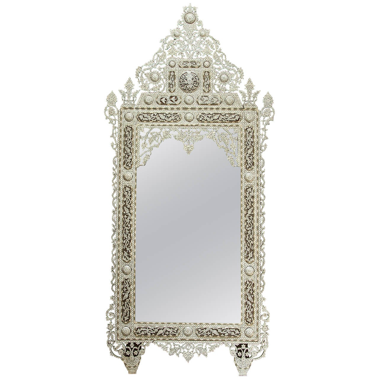 Arched gilt mirror at 1stdibs - Syrian White Inlay Mirror Late 20th Century 10ft Height