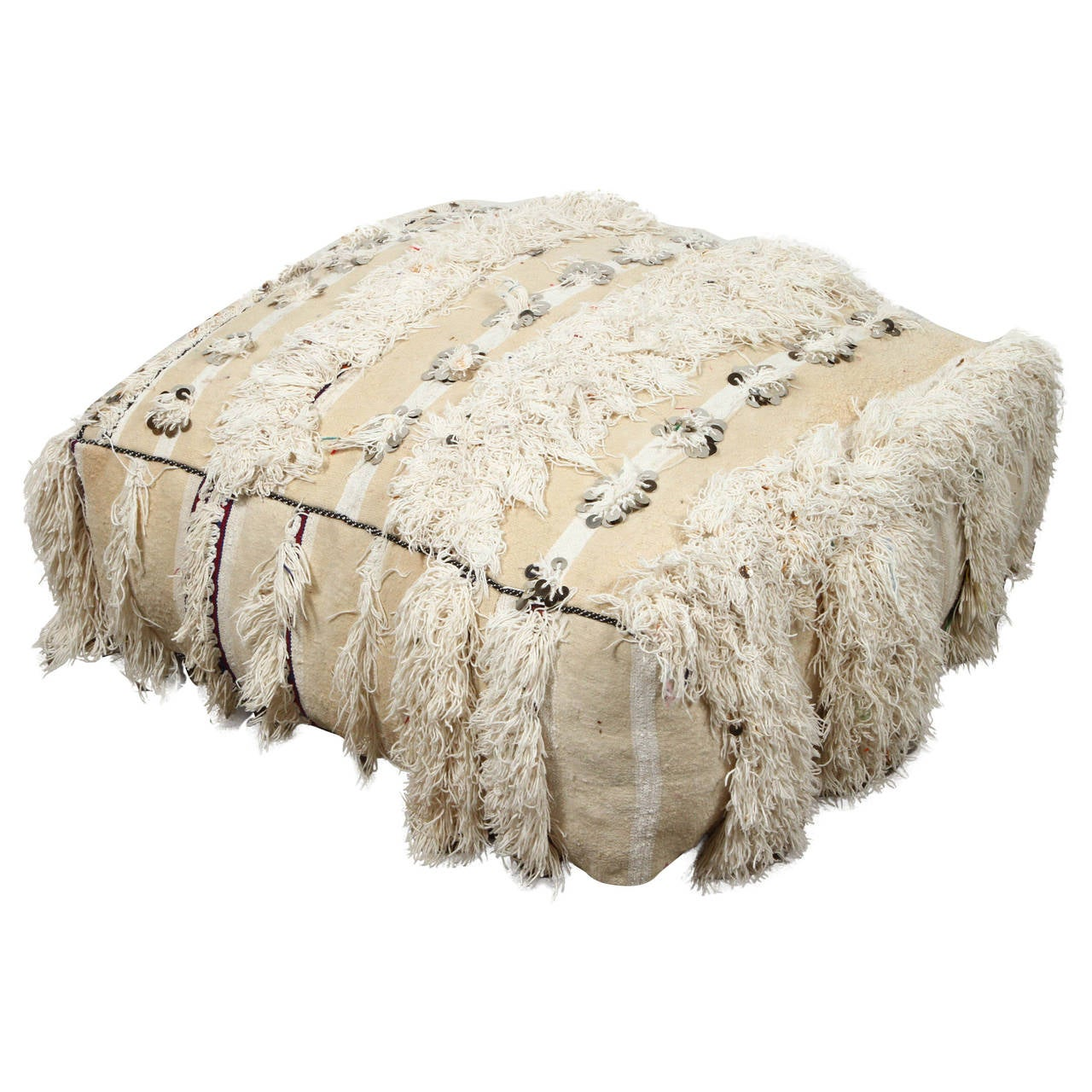 Floor Pillows Moroccan : Moroccan Wedding Floor Pillow Pouf with Silver Sequins and Long Fringes For Sale at 1stdibs