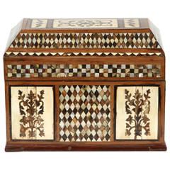 Large Ottoman Mother of Pearl Rosewood, Tortoise Inlaid Jewelry Box
