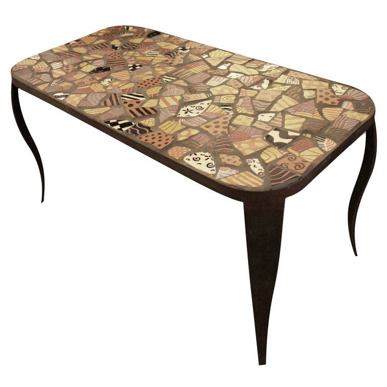 Colorful Broken Pottery Coffee Table At 1stdibs