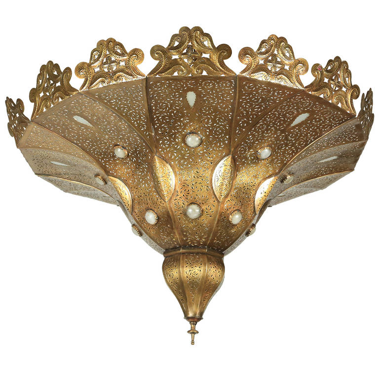 Moroccan brass chandelier in alberto pinto style for sale at 1stdibs - Moorish chandelier ...