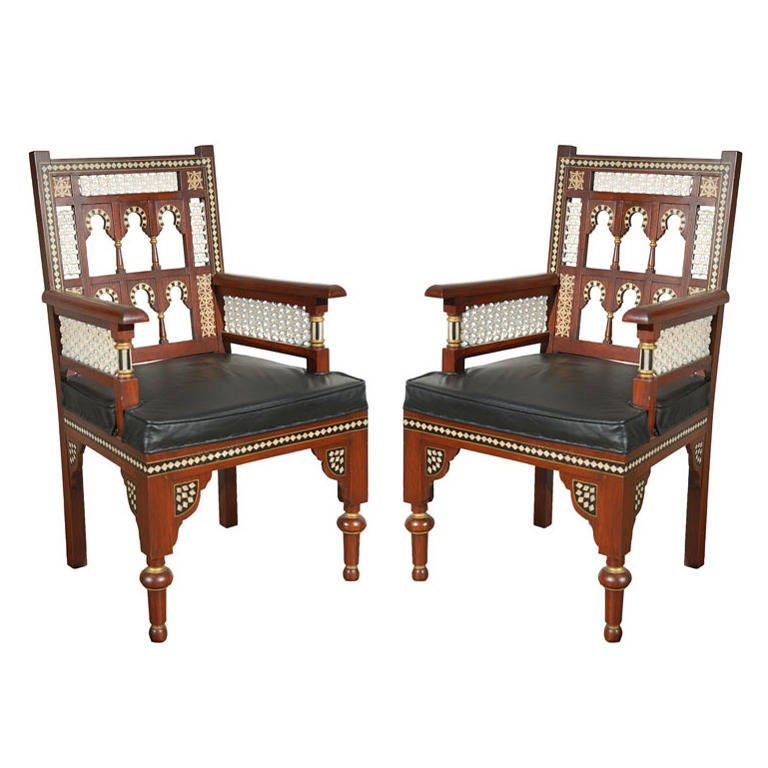 Charmant Pair Of Moroccan Moorish Armchairs
