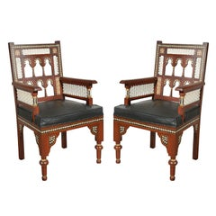 Pair of Moroccan Moorish Armchairs