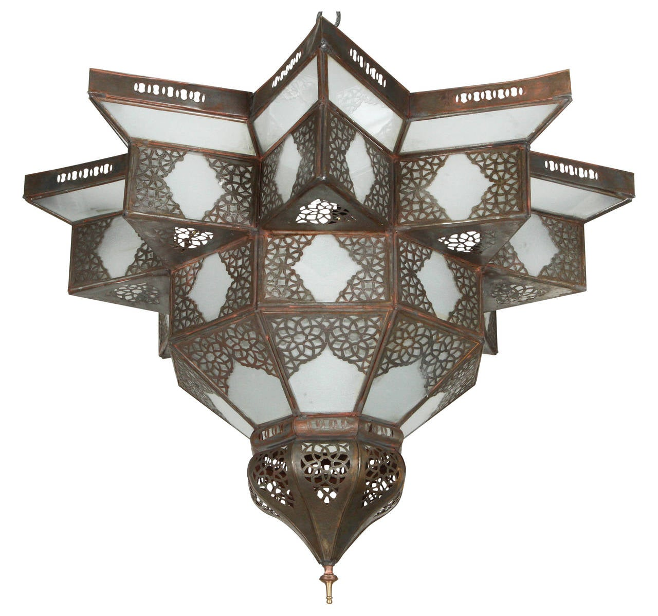 Large moroccan star shape frosted glass chandelier shade at 1stdibs large moroccan star shape frosted glass chandelier shade 1 arubaitofo Images
