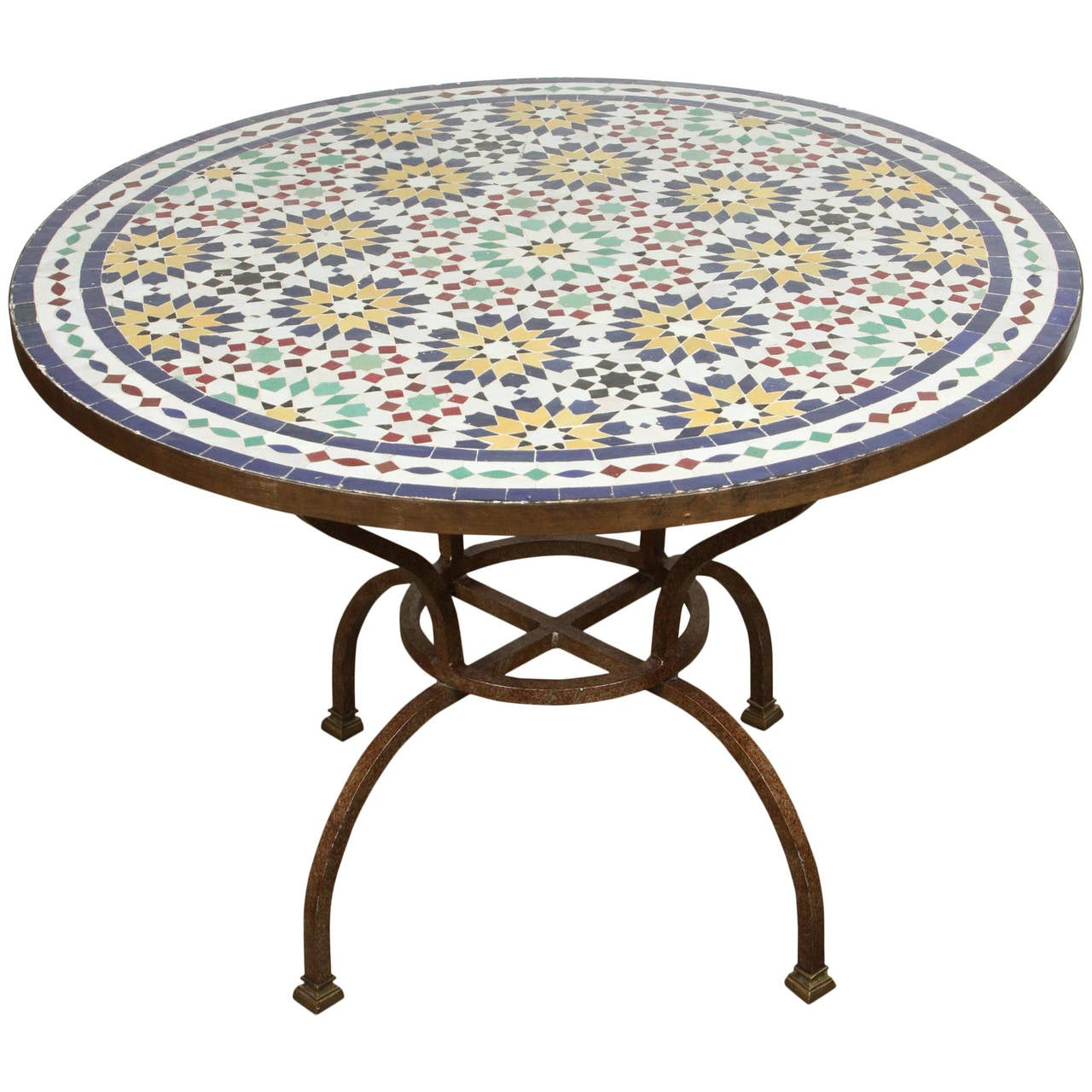 Moroccan Mosaic Tile Table from Fez at 1stdibs