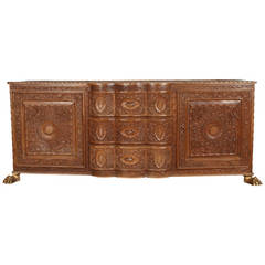 Asian Finely Hand-Carved Sideboard from Java, Indonesia