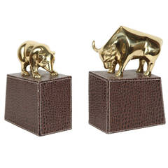 Polished Brass Bull and Bear Bookends on Leather Stitched Book Ends