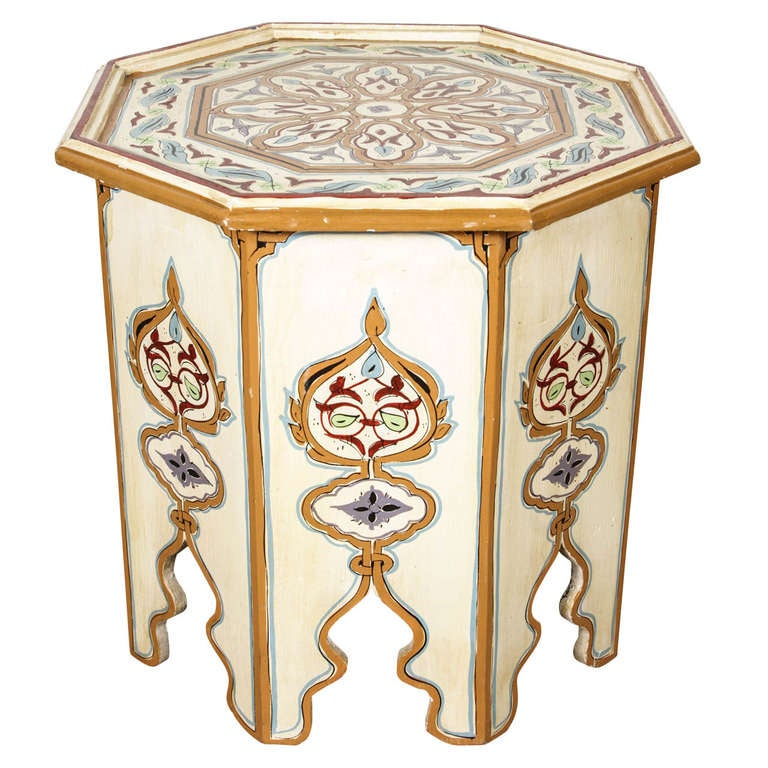 Moroccan Octagonal Hand Painted Cream Color Side Table At