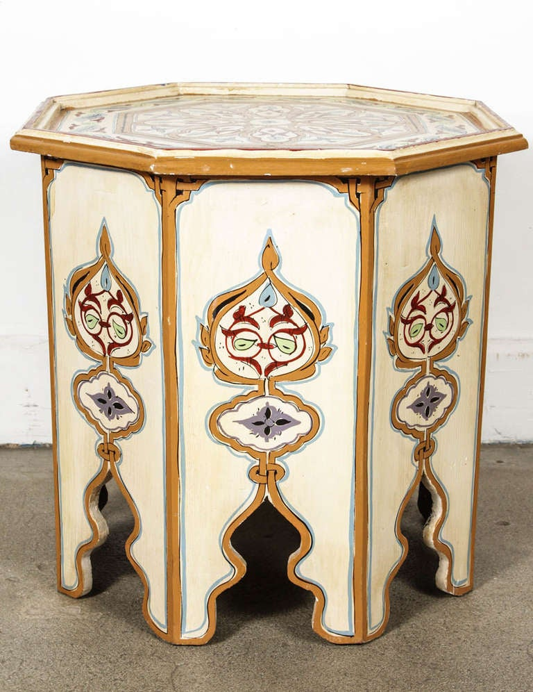 Amazing Moroccan Octagonal Hand Painted Cream Color Side Table 3