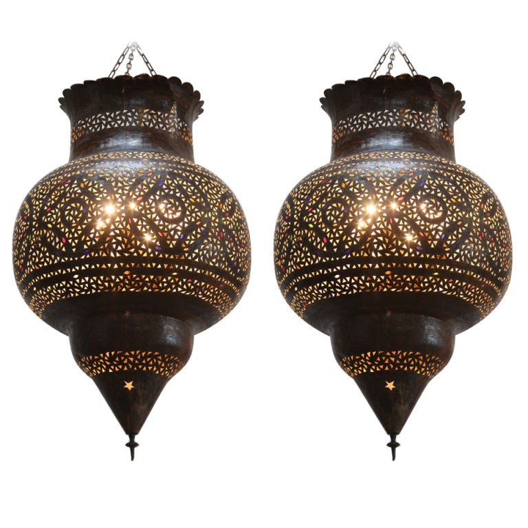 Large Moroccan Brass Hanging Lamp At 1stdibs