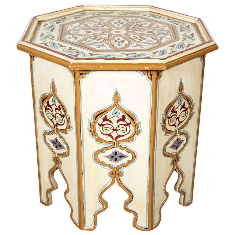 Moroccan octagonal hand painted cream color side table at for Moroccan hand painted furniture