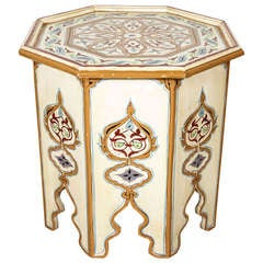 Moroccan Octagonal Hand-Painted Cream Color Side Table