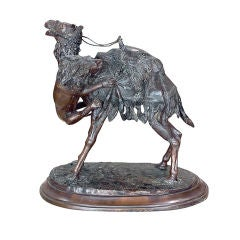 Bronze Camel and Lion Sculpture after P.J. Mene