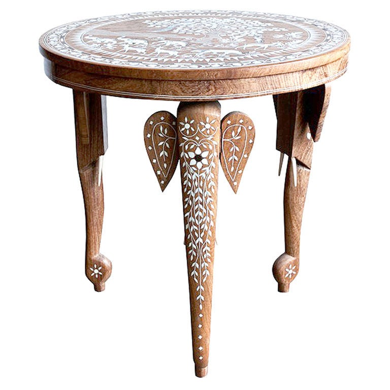 Side Table Inlaid With Mother Of Pearl Moroccan Style Round Table 1