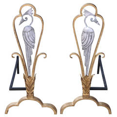 Two 1930s Andirons Attributed to Edouard Schenck