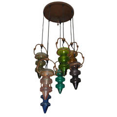 1970s Moulded and Colored Glass Chandelier