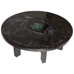 Circular Coffee Table Black Resin and Malachite by F. Dresse