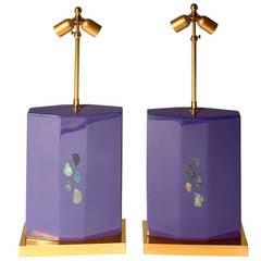 Pair of Violet Resin Lamps Inlaid Labradorite