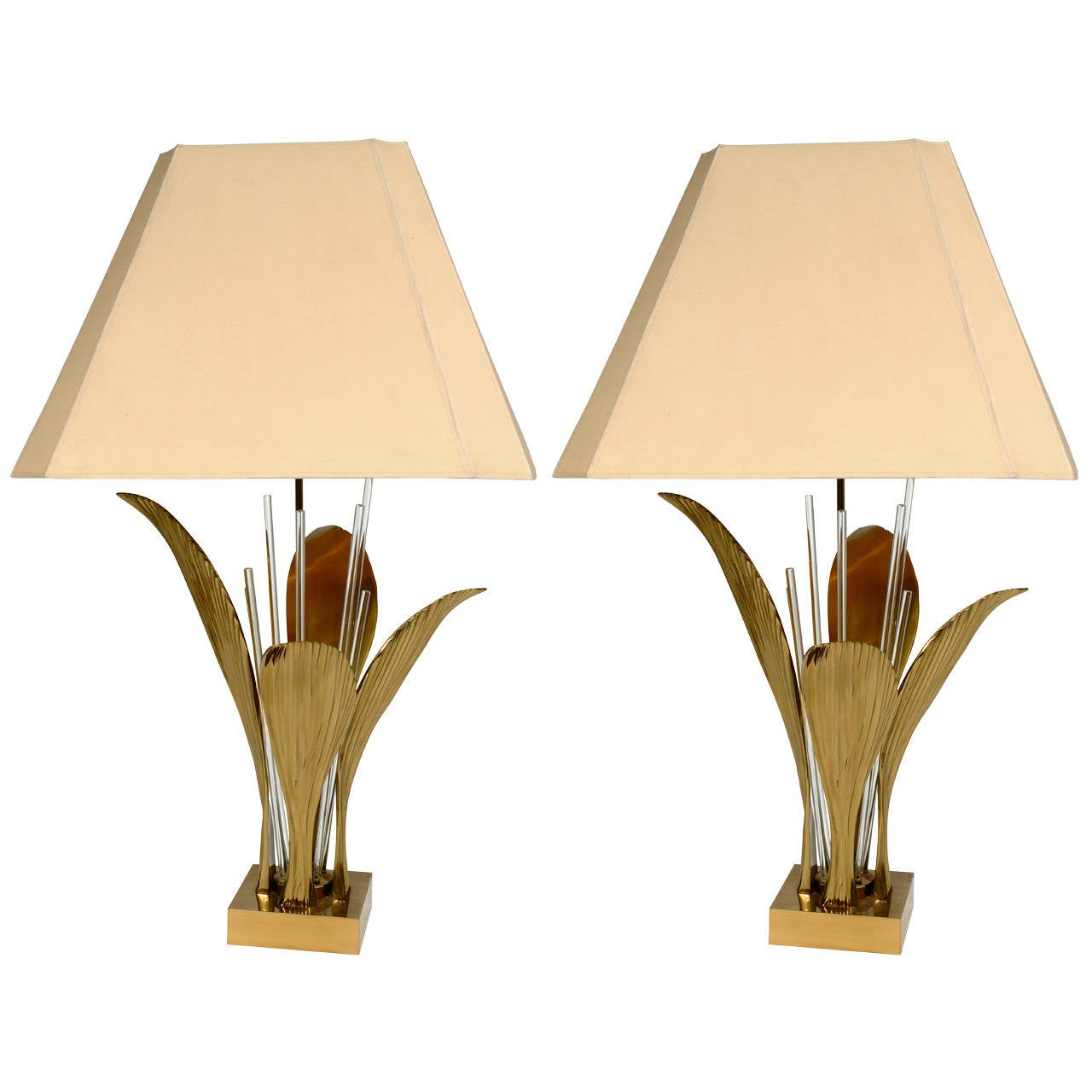 Pair of Lamps by Willy Daro Bronze Leaf and Glass