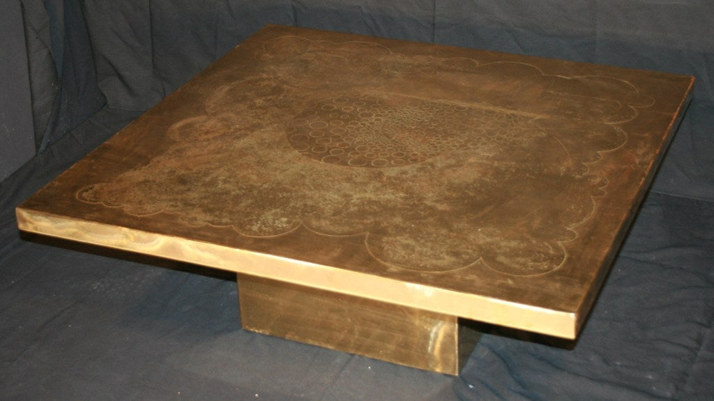 Square coffee table by Armand Jonckers (signed - see picture 5) The etched design is thought to represent the imagniary vision of the world beyond the sky and the clouds.