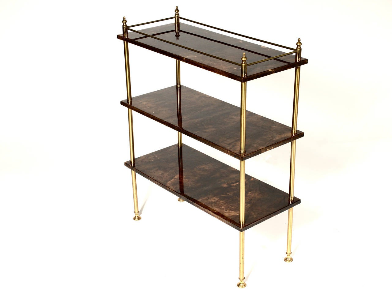 Bookcase by Aldo Tura in goatskin and brass.