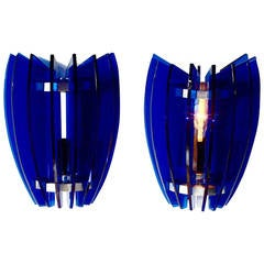 Pair of Sconces by Veca Milano in Cobalt Blue, Italy, 1970