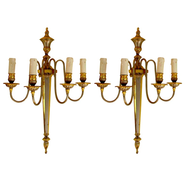 Pair of Sconces with Silvered and Gilded Metal