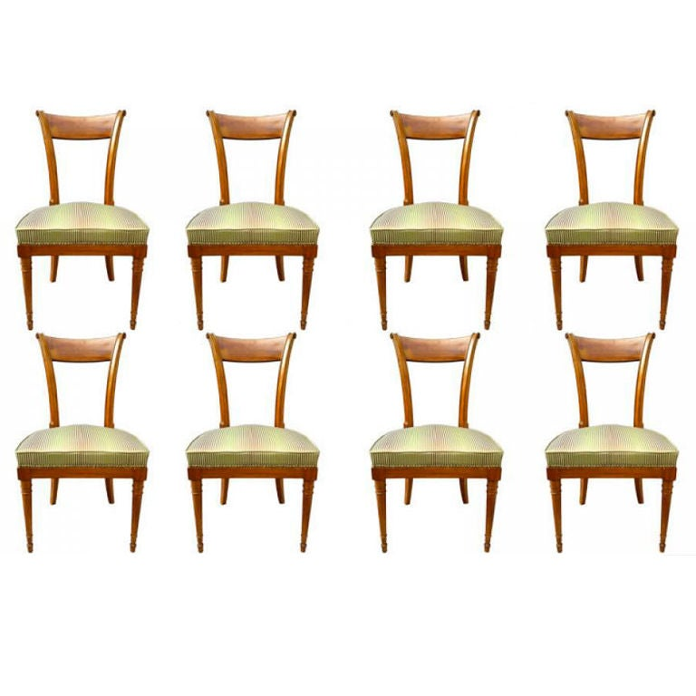 this important set of eight directoire jansen model chairs in mahogany