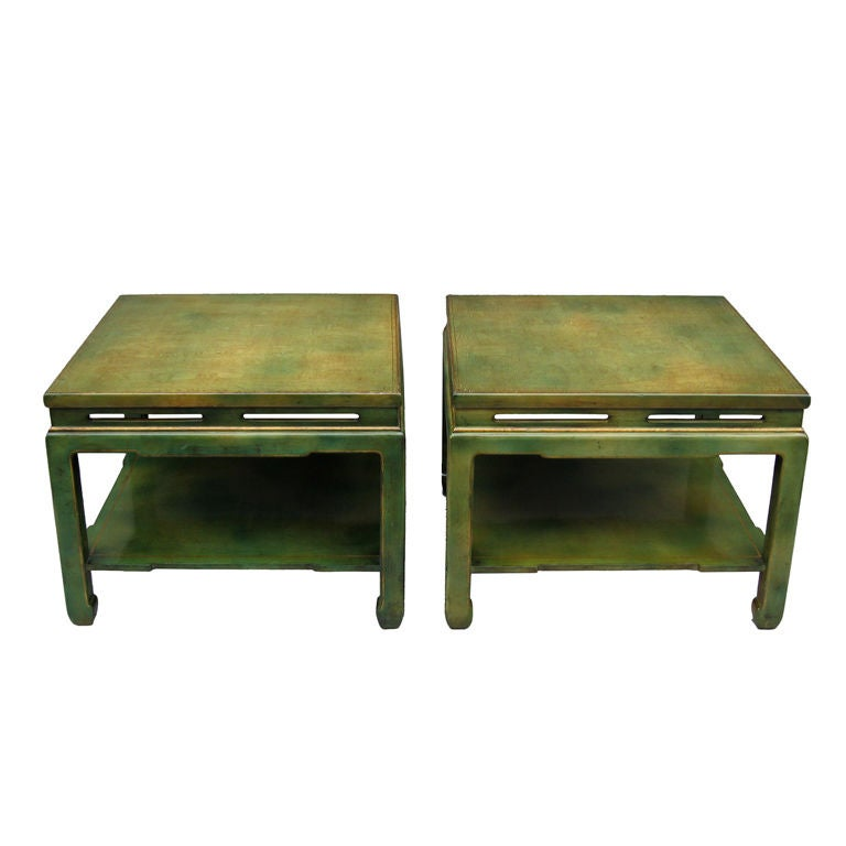 Pair Of 1950 Square Green Lacquered Coffee Tables At 1stdibs