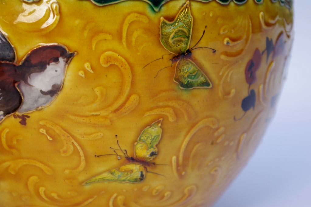 Embossed Pair of porcelain planters in the style of Amédée de Caranza For Sale