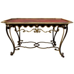 Large 19th Century Wrought Iron Coffee Table with Curved Feet
