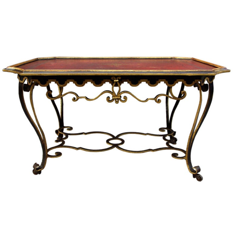 Wrought Iron Coffee Table With Drawers: Large 19th Century Wrought Iron Coffee Table With Curved