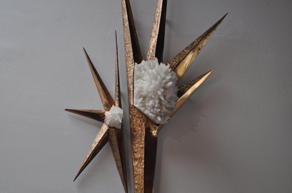 Mid-20th Century Ilse Hammon Ruocco Quartz and Brass Wall-Relief Sculpture For Sale