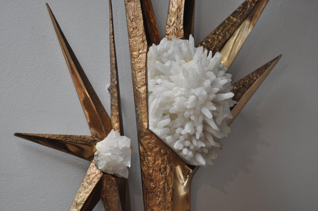 Ilse Hammon Ruocco Quartz and Brass Wall-Relief Sculpture For Sale 2