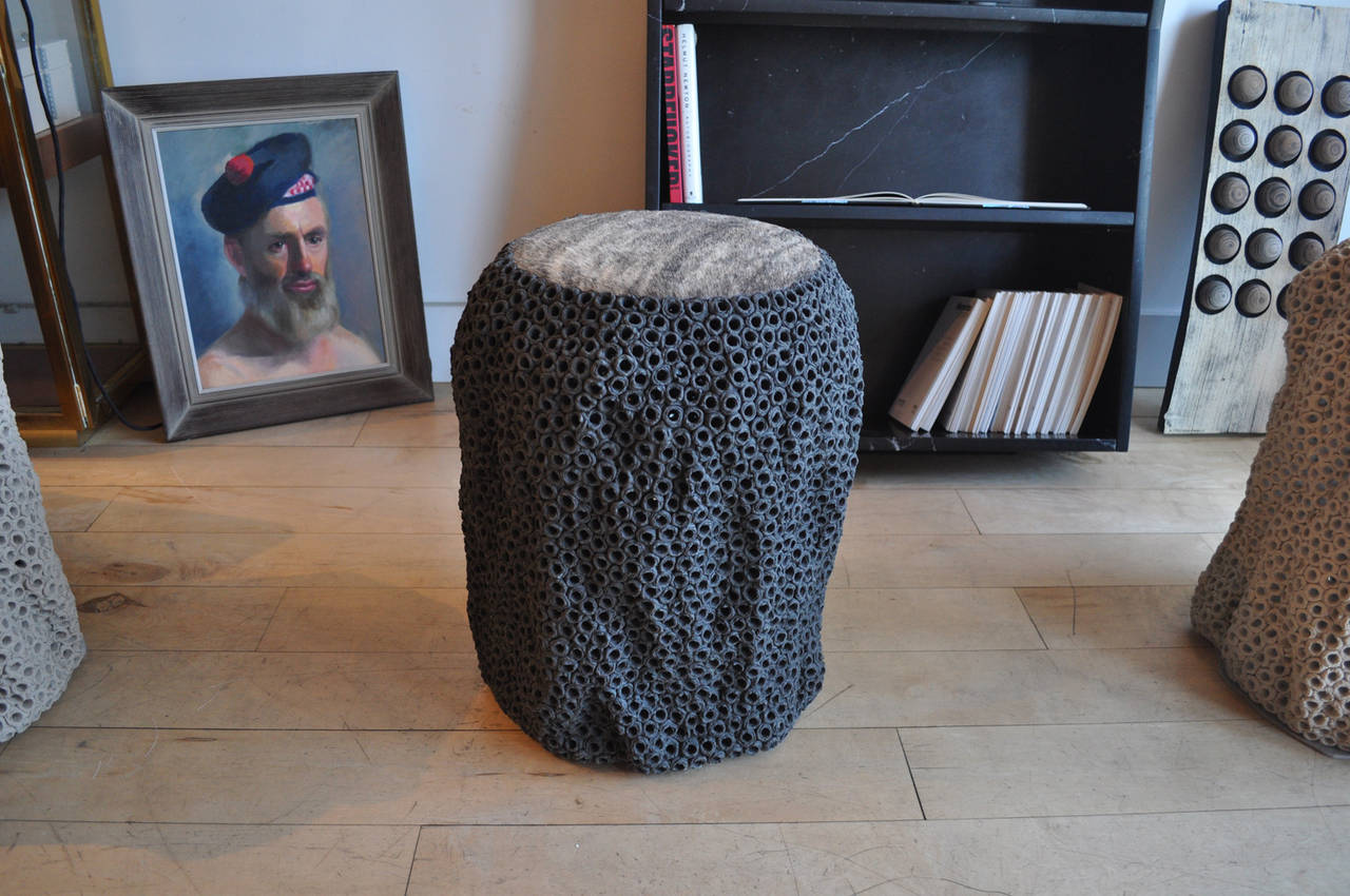 Modern Pierced Stoneware Stool or Table by GC For Sale