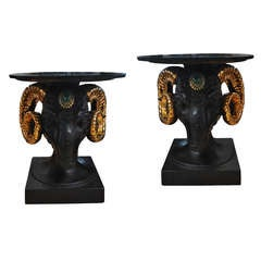 Pair of Neoclassical Style Ram Head Side Tables