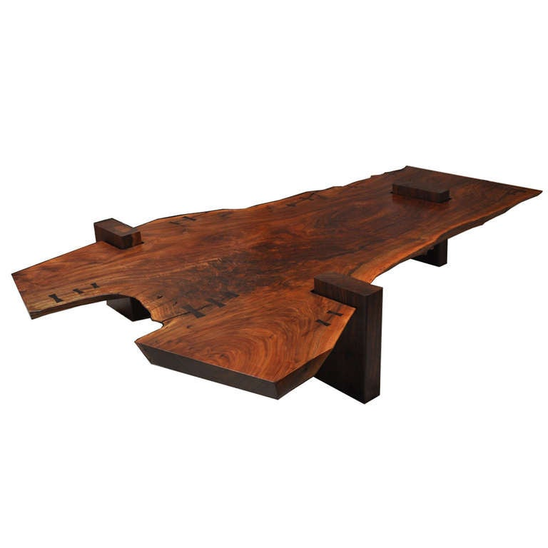 Large Scale Walnut Slab Coffee Table By Richard Patterson At 1stdibs