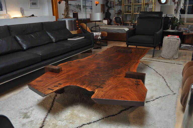 Nice Commissions Available. Please Contact Showroom. Exquisite Unique Larger  Scale Solid Walnut Slab Coffee Table