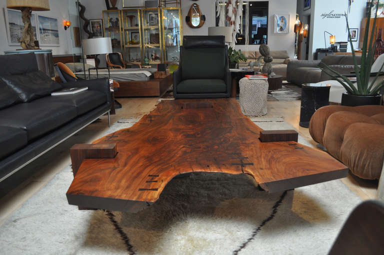 Modern Large Scale Walnut Slab Coffee Table By Richard Patterson For