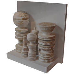 """White Forms"" Wooden Sculpture"