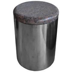 Vintage Granite and Stainless Steel Stool