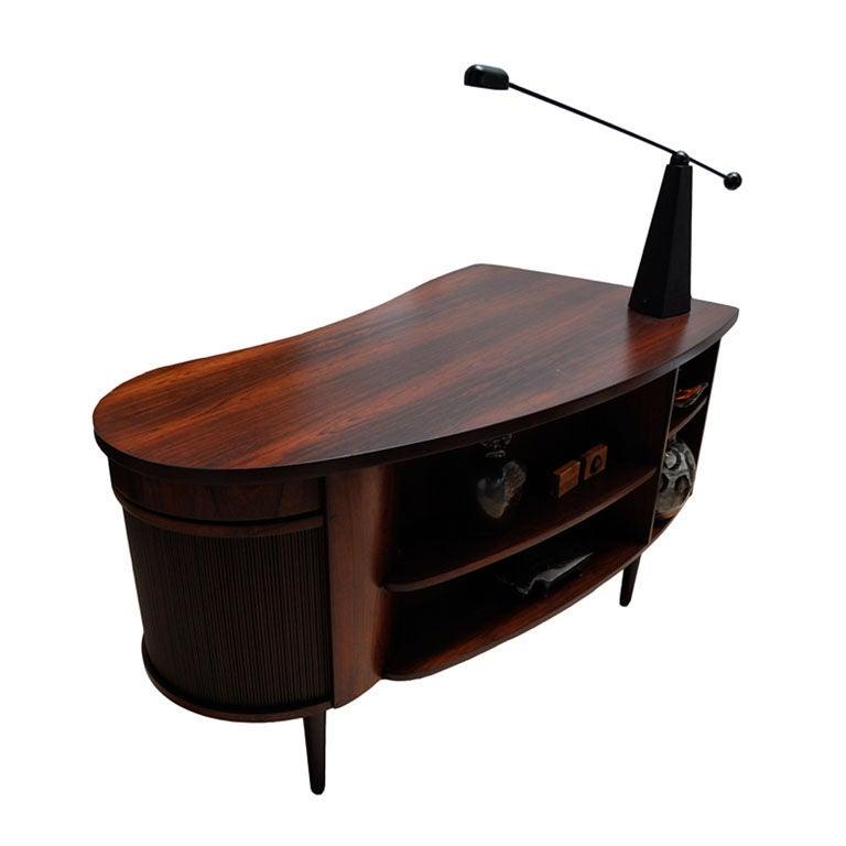 Kidney Shaped Rosewood Danish Modern Desk At 1stdibs
