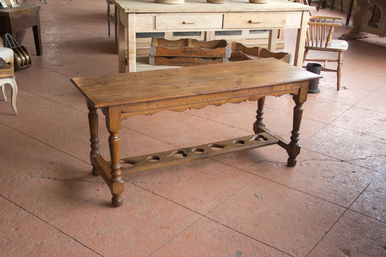 Antique French Oak Provincial Scalloped Sofa Table With Heart Shape Cutouts On Stretcher